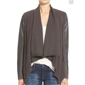 Like New BlankNYC Drape Front Mixed Media Jacket